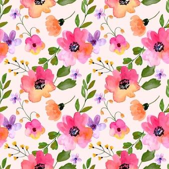 春の季節のための水彩画のシームレスなパターンピンクのアネモネと紫の花