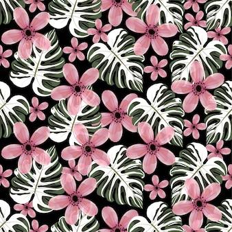 Акварель бесшовные шаблон розовые дикие цветы.