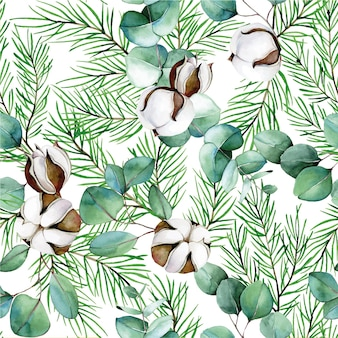 Watercolor seamless pattern on the theme of winter new year christmas cotton flowers eucalyptus