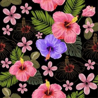 Акварель бесшовные тропические цветы.