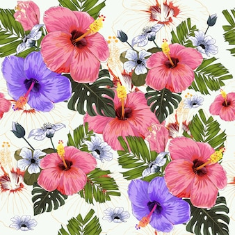 Watercolor Seamless pattern tropical flowers.