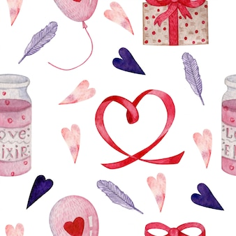 Watercolor seamless pattern for valentines day