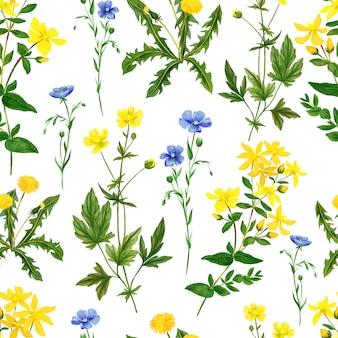 水彩のシームレスパターン、野生の野の花とハーブ