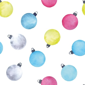 Watercolor seamless pattern with abstract christmas balls christmas tree toys of bright colors