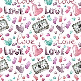 Watercolor seamless pattern with audio cassette tapes