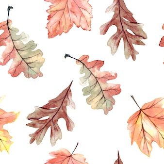 Watercolor seamless pattern with autumn leaves