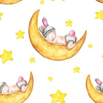 달에서 자는 아기와 함께 수채색 매끄러운 패턴입니다. 잠자는 귀여운 토끼와 노란색 별.