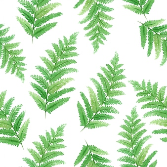 Watercolor seamless pattern with beautiful tropical exotic leaves