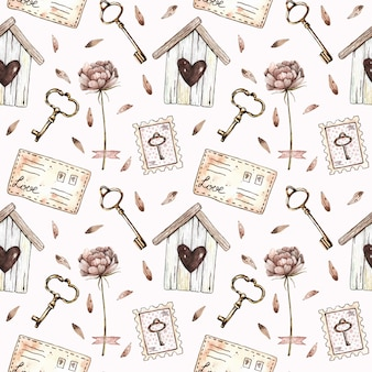 Watercolor seamless pattern with birdhouse, peony, keys, stamps and letters in vintage style.
