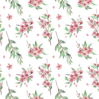 Watercolor seamless pattern with blooming cherry brunches, flowers and leaves
