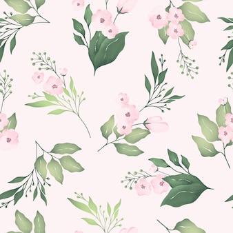 만개 핑크 꽃과 녹색 잎 수채화 원활한 패턴