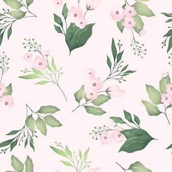 Watercolor seamless pattern with blooming pink flower and green leaves