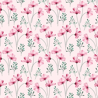 Watercolor seamless pattern with blooming pink flower and weeds