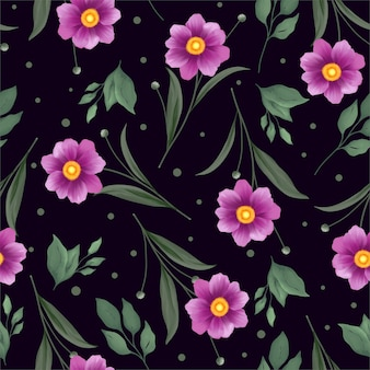 Watercolor seamless pattern with blooming purple flower