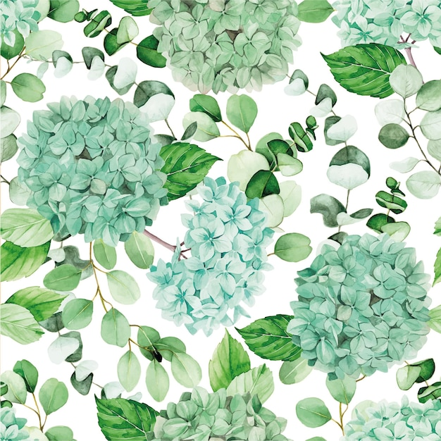 Watercolor seamless pattern with blue hydrangea flowers and eucalyptus branches and leaves