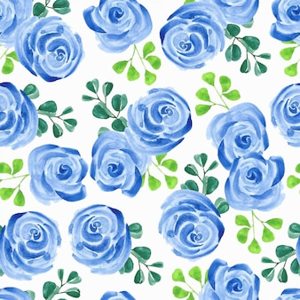 Watercolor seamless pattern with blue rose flower