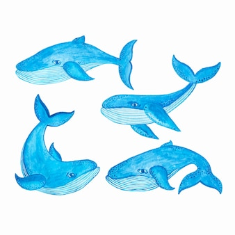 Watercolor seamless pattern with blue whale, cartoon style