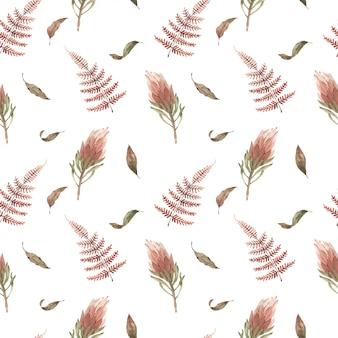 自由奔放に生きる花と水彩のシームレスなパターン。手描き。