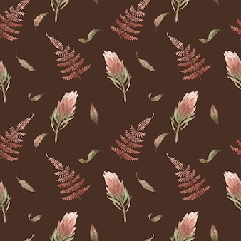 Акварель бесшовный паттерн с бохо тропических растений. экзотические цветы и листья пастель, хаки. винтажные обои.