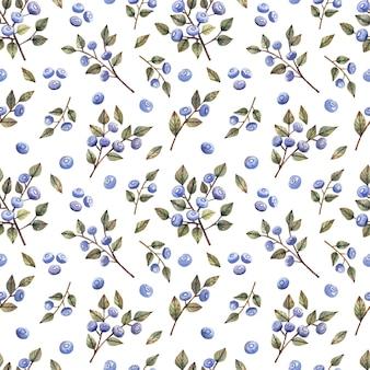 블루베리 야생 딸기의 가지와 열매와 수채화 원활한 패턴
