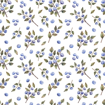 Watercolor seamless pattern with branches and berries of blueberries wild berries