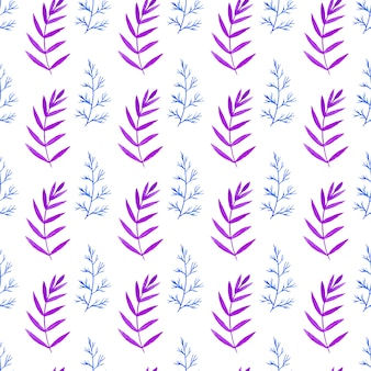 Watercolor seamless pattern with branches in blue and violet colors. floral vector hand paint background