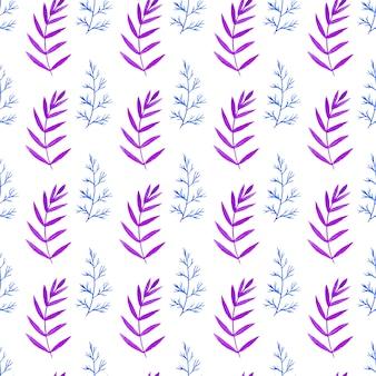 青と紫の色の枝で水彩のシームレスなパターン。花のベクトル手のペイントの背景