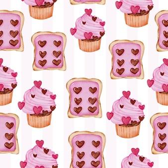 Reticolo senza giunte dell'acquerello con pane con marmellata e cup cake, elemento di concetto di san valentino dell'acquerello isolato adorabile romantico rosso-rosa per la decorazione, illustrazione.
