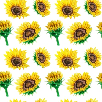 Watercolor seamless pattern with bright sunflowers.