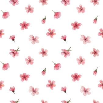 桜のピンクの花とつぼみの水彩のシームレスパターン