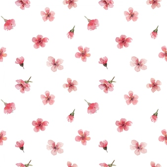 Watercolor seamless pattern with cherry pink flowers and buds