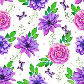 色とりどりの花で水彩のシームレスパターン