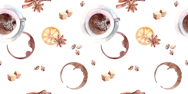 Watercolor seamless pattern with cup of coffee, sugar, cinnamon and coffee beans