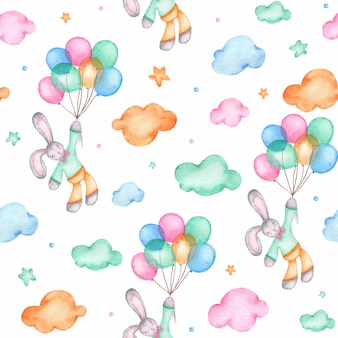 Watercolor seamless pattern with cute easter bunny on air balloons