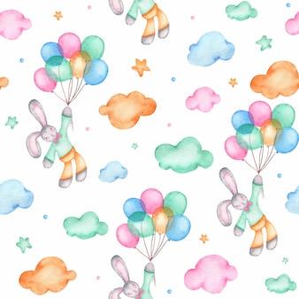 気球にかわいいイースターのウサギと水彩のシームレスパターン