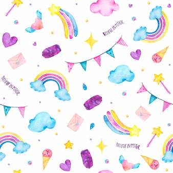 Watercolor seamless pattern with cute magic unicorn, ice-cream, magic wand, clouds isolated
