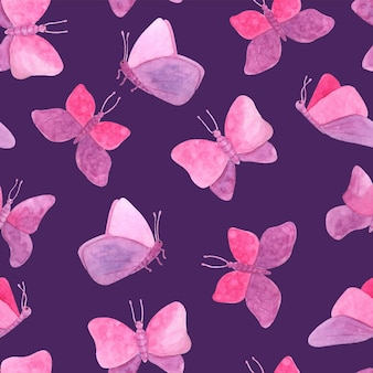 かわいいピンクの蝶と水彩のシームレスなパターン