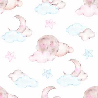 Watercolor seamless pattern with cute sleeping moon crescent