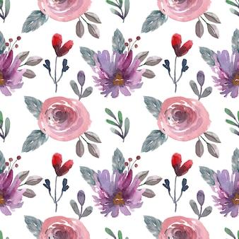 ほこりっぽいピンクのバラと葉と水彩のシームレスなパターン