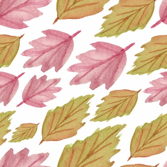 Watercolor seamless pattern with fall leaf autumn season