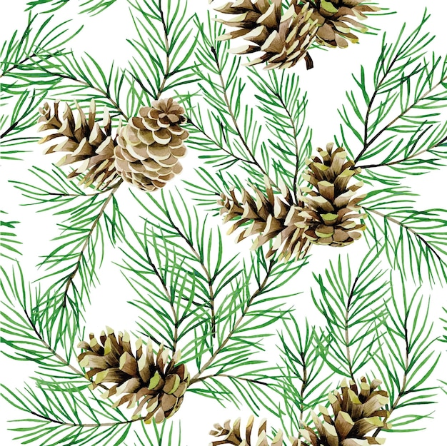 Watercolor seamless pattern with fir branches and cones christmas trees isolated on white