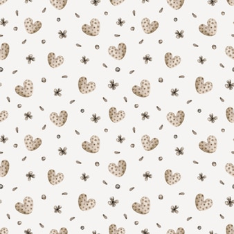 Watercolor seamless pattern with flowers and hearts.