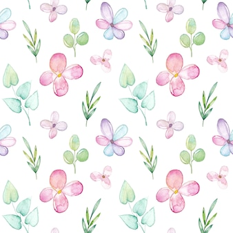 Watercolor seamless pattern with flowers and leaves