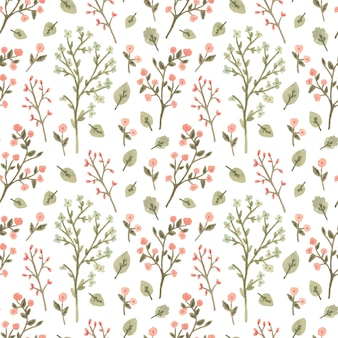 Watercolor seamless pattern with flowers in a romantic style.