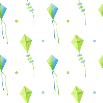 Watercolor seamless pattern with flying decorative kites in green and blue colors