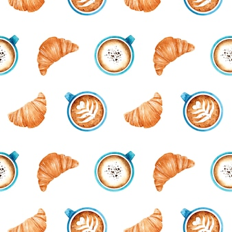 Watercolor seamless pattern with fresh croissants and blue coffee cups with aromatic cappuccino