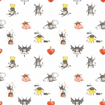 Watercolor seamless pattern with funny little devils and glass heart