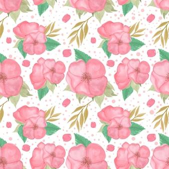 ゴージャスなピンクの花と水彩のシームレスパターン