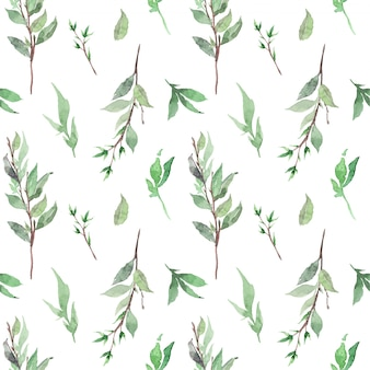 Watercolor seamless pattern with green young leaves