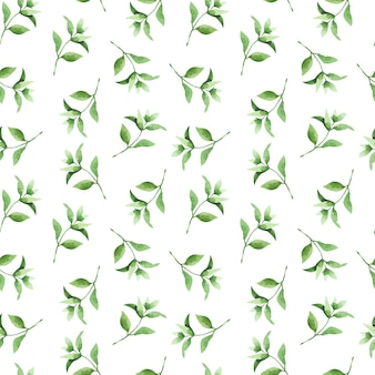 Watercolor seamless pattern with hand drawn tea branches and leaves.